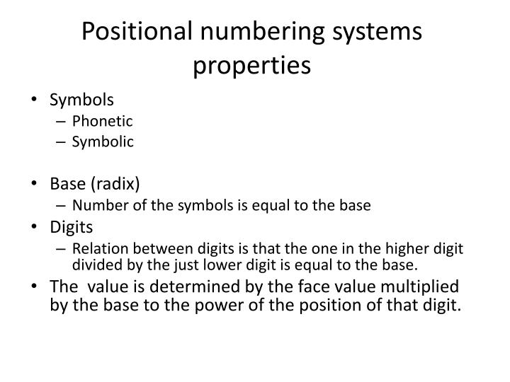 Positional numbering systems properties