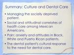 summary culture and dental care
