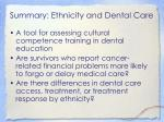 summary ethnicity and dental care1