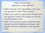 topic summary going to the dentist3
