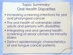 topic summary oral health disparities
