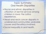 topic summary oral health disparities1