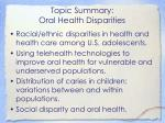 topic summary oral health disparities2