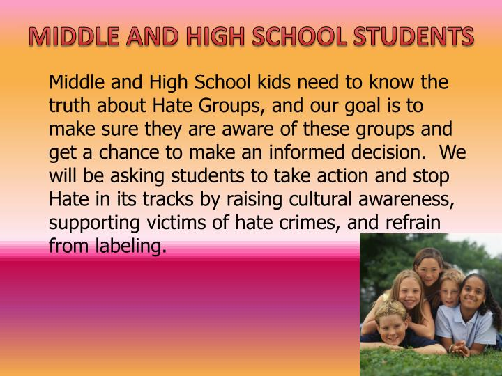 MIDDLE AND HIGH SCHOOL STUDENTS