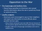 opposition to the war