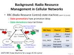 background radio resource management in cellular networks