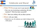 celebrate and share