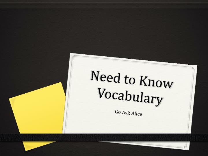need to know vocabulary n.