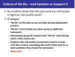 culture of re do and systems to support it