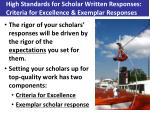 high standards for scholar written responses criteria for excellence exemplar responses