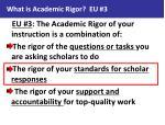 what is academic rigor eu 31