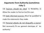 arguments from authority sometimes risky