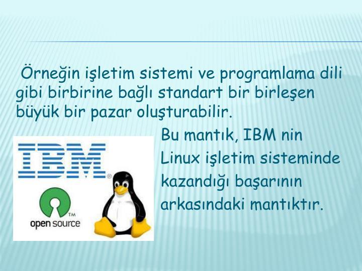 Örneğin işletim sistemi ve programlama dili gibi birbirine bağlı standart bir birleşen büyük bir pazar oluşturabilir