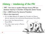 history weakening of the pri