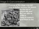 stage 3 concentration early 1930s but intensified in 1939