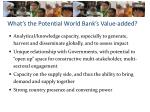 what s the potential world bank s value added