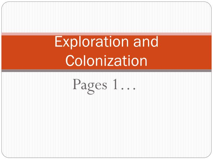 exploration and colonization n.