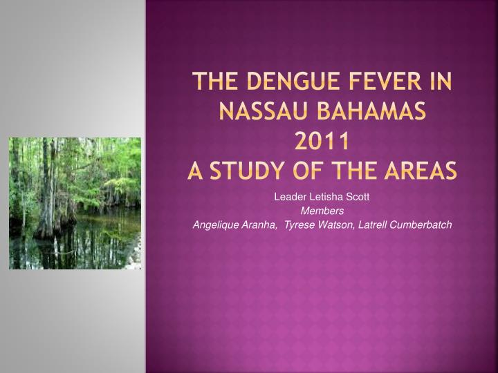 the dengue fever in nassau bahamas 2011 a study of the areas n.