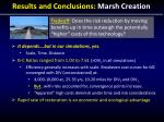 results and conclusions marsh creation
