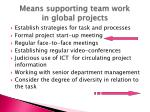 means supporting team work in global projects