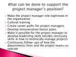 what can be done to support the project manager s position