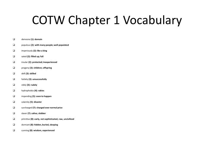 cotw chapter 1 vocabulary n.