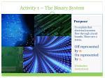 activity 1 the binary system