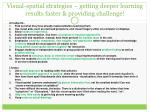 visual spatial strategies getting deeper learning results faster providing challenge