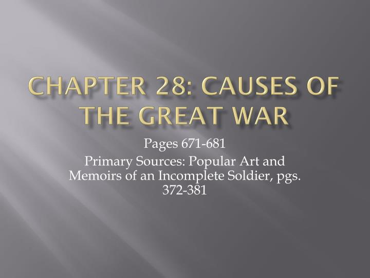 chapter 28 causes of the great war n.