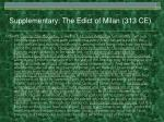supplementary the edict of milan 313 ce