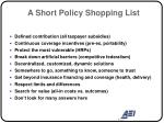 a short policy shopping list