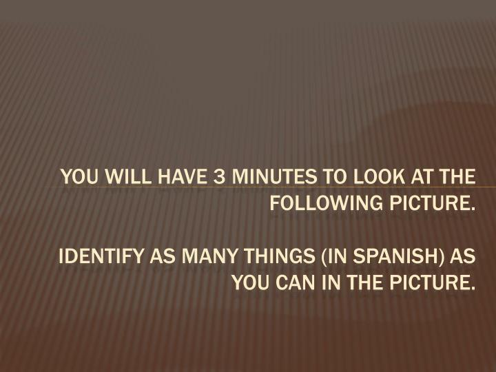 You will have 3 minutes to look at the following picture.