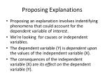 proposing explanations