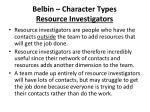 belbin character types resource investigators