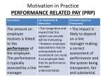 motivation in practice performance related pay prp