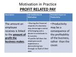motivation in practice profit related pay