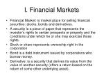 i financial markets