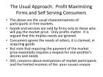 the usual approach profit maximizing firms and self serving consumers