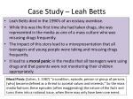 case study leah betts