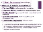 client advocacy microlevel