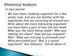 rhetorical analysis in your journal
