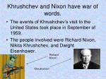 khrushchev and nixon have war of words