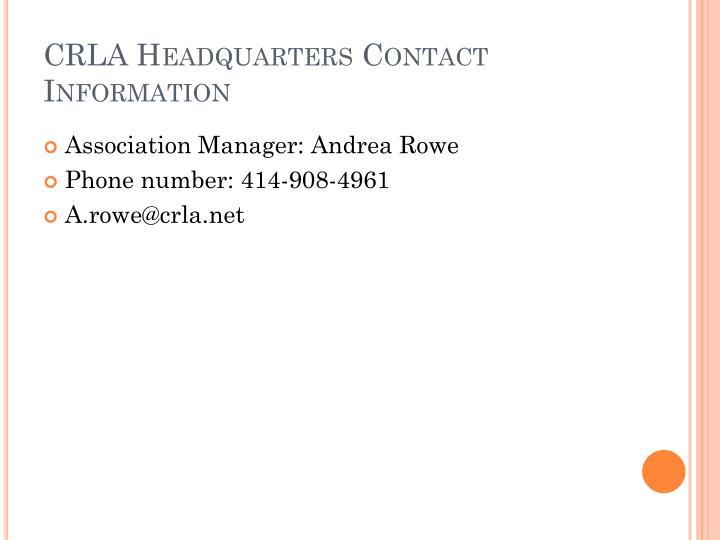 CRLA Headquarters Contact Information