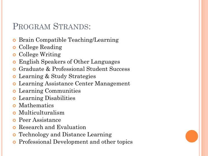 Program Strands: