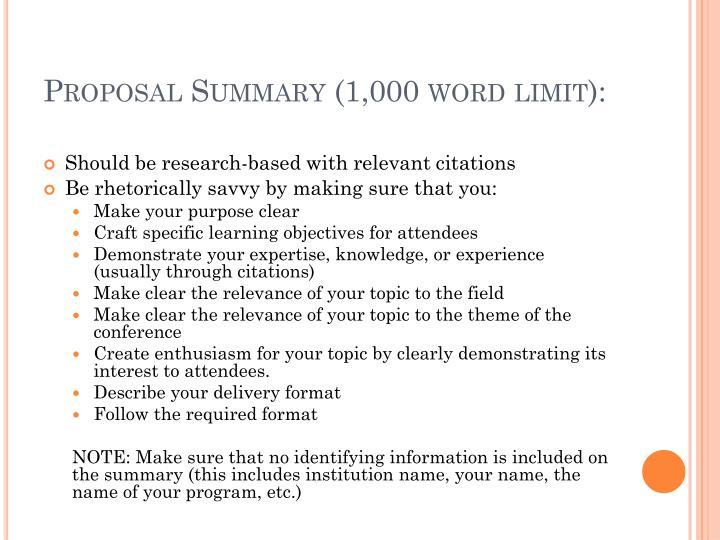 Proposal Summary (1,000 word limit):