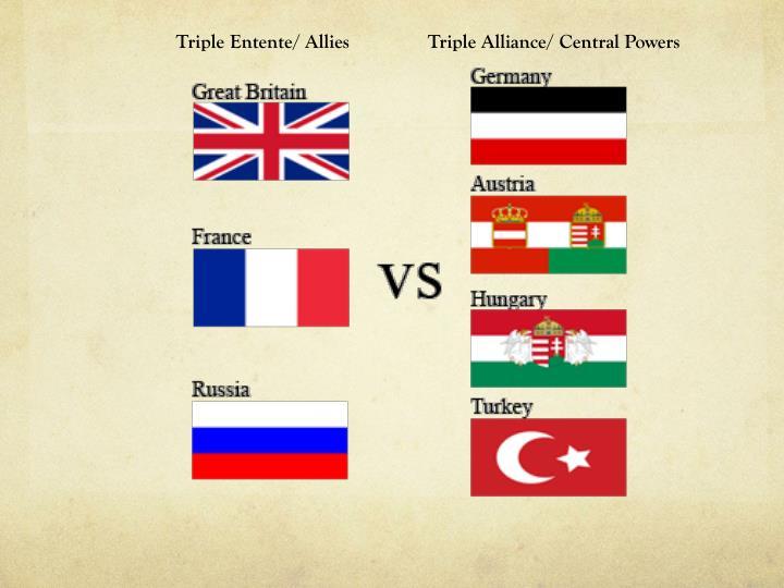 Triple Entente/ Allies                Triple Alliance/ Central Powers