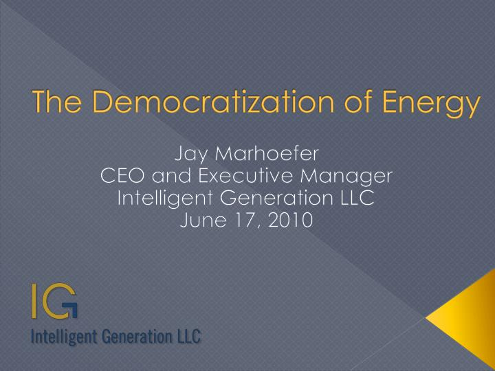 the democratization of energy n.