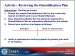 activity reviewing the demobilization plan