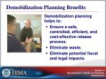 demobilization planning benefits