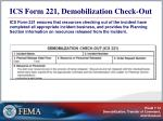 ics form 221 demobilization check out